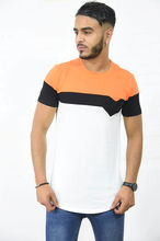 T-shirt col rond ourlet arrondi tricolore blanc noir orange