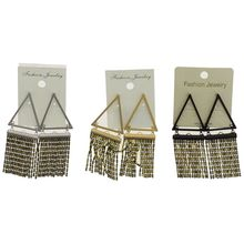 Assortiment boucles d'oreille pendantes triangle à franges