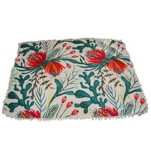 Serviette de plage rectangle à pompons imprimé floral et cactus