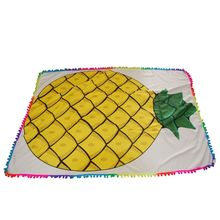 Serviette de plage rectangle motif ananas avec pompons multicolores