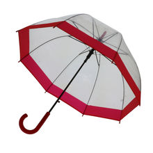 Parapluie cloche transparent à 8 baleines bords avec liseré rouge