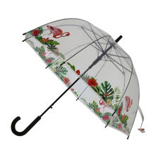 Parapluie cloche transparent à 8 baleines motif avec flamants rose
