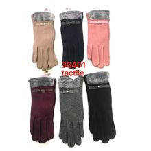 Assortiment gants tactiles à bords aspect fourrure et noeud