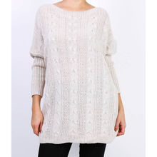 Pull col rond avec une grosse maille coloris beige