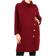 Tunique longue en maille stretch col roulé bordeaux