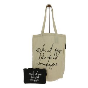 "Tote bags avec une trousse ""Make it pop like pink champagne"" noir"