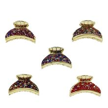 Assortiment pince cheveux type crabe strass multicolore