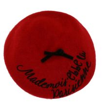 "Béret rouge à inscription ""Mademoiselle Parisienne"""