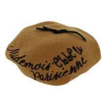 "Béret camel à inscription ""Mademoiselle Parisienne"""