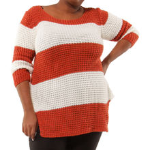 Pull grosse maille bicolore avec rayures rouille