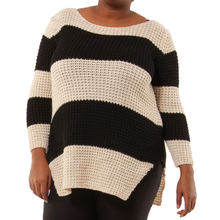 Pull grosse maille bicolore avec rayures beige