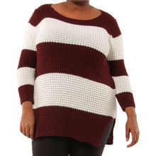 Pull grosse maille bicolore avec rayures bordeaux