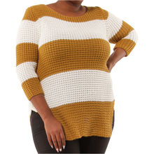 Pull grosse maille bicolore avec rayures moutarde