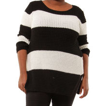 Pull grosse maille bicolore avec rayures noir