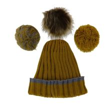 Set 1 bonnet + 3 pompons interchangeables en bouton pression