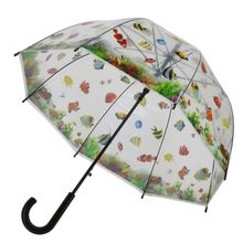 Parapluie cloche transparent motif poissons multicolores