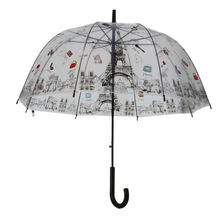 Parapluie cloche transparent symboles iconiques de Paris