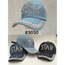 Assortiment casquette jean STAR embellie strass brillant