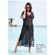 Robe de plage longue col V dentelle finition transparent