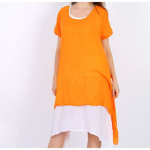 Robe unie en coton 2 en 1 manches courtes orange