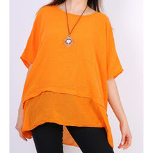 Top en coton bas volanté orange avec collier inclus