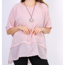 Top en coton bas volanté rose avec collier inclus
