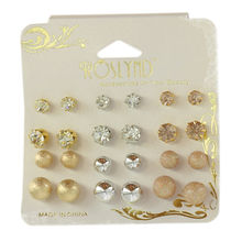 Assortiment boucles d'oreille puce fantaisie aspect brillant
