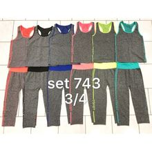 Ensemble de sport couleur flashy : débardeur + leggings 3/4