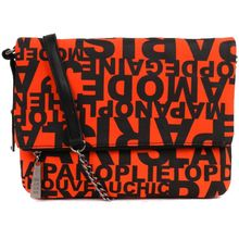 Pochette bandoulière pliable orange motif à inscription