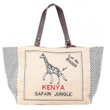 Sac cabas en toile imprimé girafe Kenya safari jungle