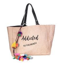 "Sac cabas ""Addicted to the beach"" noir avec pompons"