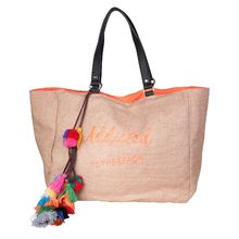 "Sac cabas ""Addicted to the beach"" corail avec pompons"