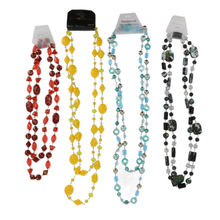 Assortiment collier sautoir double rang perles de verre