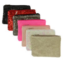 Assortiment pochette plate zippée recouverte de sequins