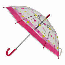 Parapluie long transparent imprimé de pois multicolores