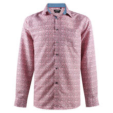 Chemise en coupe confort rose à motifs all over