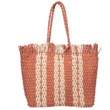 Sac cabas à motif graphique bordé de franges orange
