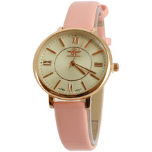 Montre or rose à 3 aguilles sur bracelet aspect cuir rose