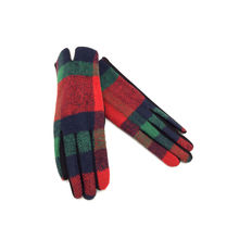 Gants tactiles rouge imprimé en carreaux multicolores