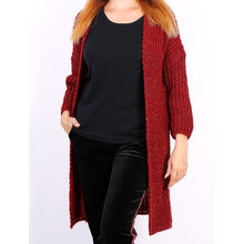 Gilet long ouvert en grosse maille brillante bordeaux