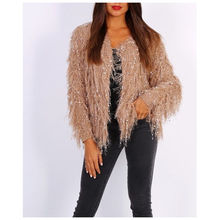 Gilet ouvert en maille poilue finition avec strass brillants