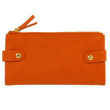 Portefuille pliable cuir orange avec protection anti-fraude