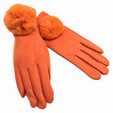 Gants tactiles orange orné d'un joli boule de pompon