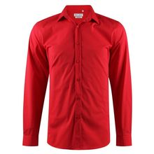 Chemise slim fit en coton stretch uni rouge