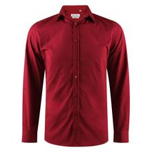 Chemise slim fit en coton stretch uni bordeaux