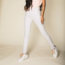 Pantalon coupe skinny push up blanc à taille haute