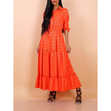 Robe longue orange à motif taches dorées brillantes