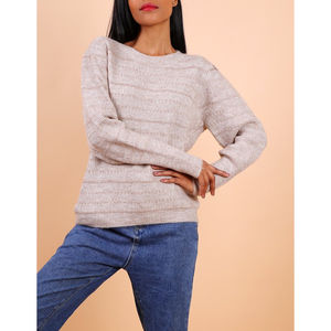 Pull manches longues beige à fines rayures brillantes