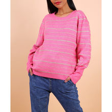 Pull manches longues fuchsia à fines rayures brillantes