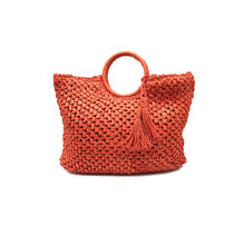 Sac à main zippée tissage en papier avec pampilles orange